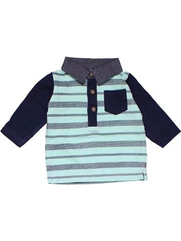 Long sleeve polo shirt boy NEWBORN gray 1 month winter #15028_1